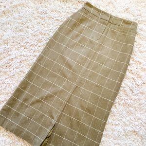 Vintage Brown & White Plaid Long Pencil Skirt
